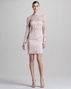 aidan mattox long sleeve lace overlay cocktail dress