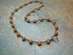 Crochet beaded necklace w stones Boho Basics by 3DivasStudio, $22.00