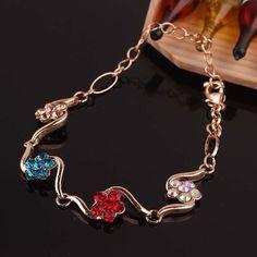 O envio gratuito de outubro novos produtos listagem 14 K banhado a ouro de cristal austríaco de arame pulseiras pulseiras clássicos da moda jóias