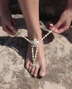 Seashell flower barefoot sandal Natural seashell by NevelynkaNasha, $36.00