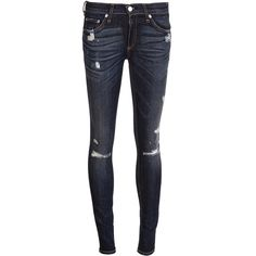 RAG & BONE The skinny distressed jean ($220) ❤ liked on Polyvore featuring jeans, pants, bottoms, calças, denim skinny jeans, skinny jeans, skinny fit jeans, ripped skinny jeans and blue skinny jeans