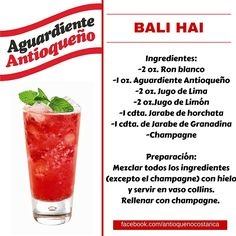 ¡Aguardiente Antioqueño combina con todo! #Aguardiente #Antioqueño #Coctel #Cocktail #BaliHai Yummy Drinks, Yummy Food, Alcoholic Drinks, Beverages, Bartender, Cocktail Recipes, Bon Appetit, Whisky, Rum