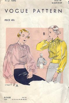 Vintage 1930s Pintucked Bodice and Sleeve Blouse Pattern Banded Waist Billowy Bishop Sleeves Tie Collar 1930s Vogue 7095 Bust 36 UNCUT