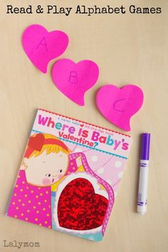 """Read and play on Valentine's Day with the adorable children's book """"Where is Baby's Valentine."""" These alphabet games help develop literacy skills while being buckets of fun. This is perfect activity for a preschool classroom or homeschool. Valentine Activities, Kids Learning Activities, Valentine Day Crafts, Fun Learning, Preschool Activities, Valentines, Preschool Classroom, Learning Resources, Valentine Hearts"""