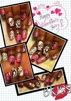 Free style Valentine's Design. Pink, Red, White, and Black. Loving it!!