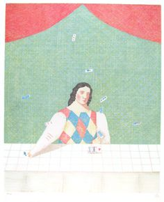 有元利夫『占いの部屋』1981年 リトグラフ Japanese Painting, Japanese Art, Kitty Crowther, Etching Prints, Illustration Art, Illustrations, Figurative Art, Akira, Printmaking