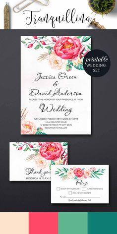 Floral Wedding Invitation Set, Spring Summer Wedding Trends, Printable Boho Wedding invitation Suite - pinned by pin4etsy.com
