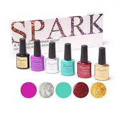 Honey cosmetics 6 Pure Colors Nail Art 7.3ml UV Gel Polish Set -7 *** See this great product.