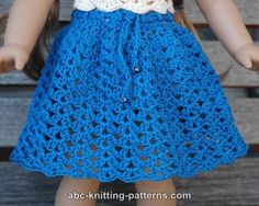 ABC Knitting Patterns - American Girl Doll Seashell Summer Skirt