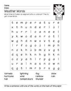 Weather Words word search