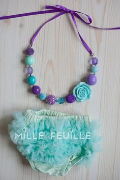 ariel the little mermaid colors chunky bead necklace and ruffle bloomers by MilleFeuilleBoutique