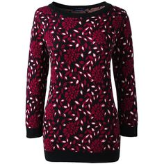 Lands' End Women's Plus Size Supima 3/4 Sleeve Jacquard Sweater (£27) ❤ liked on Polyvore featuring plus size women's fashion, plus size clothing, plus size tops, plus size sweaters, red, purple sweater, red polka dot sweater, floral sweater, lands end sweaters and womens plus size sweaters