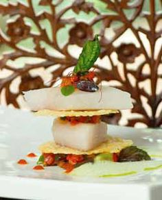 Mille-Feuille of Tilapia & Ratatouille- with sweet basil cream Tilapia, Ratatouille, Basil, Panna Cotta, Mosaic, Cream, Ethnic Recipes, Sweet, Food