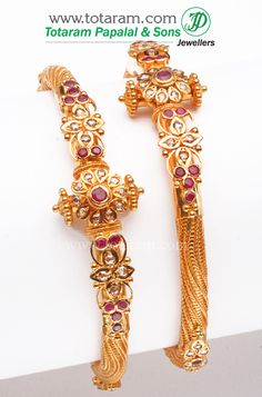 22K Fine Gold Uncut Diamond Kada with Rubies