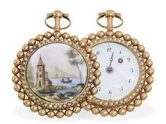 Taschenuhr: außergewöhnliche Gold/Emaille-Spindeluhr mit beidseitigem Perlenbesatz, vermutlich Gen