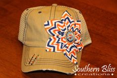 SALE - Shabby Chic, Bottlecap and Swarovski bling embellished flower, Khaki OKC Thunder distressed Trucker hat on Etsy, $27.00