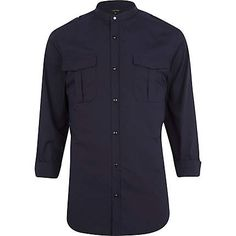 Navy blue military grandad shirt €40.00