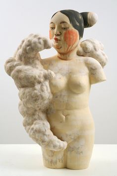 'Venus in Clouds by Japanese-born, Seattle-based artist Akio Takamori Stoneware with underglazes, 38 x 24 x 13 in. via Artnet Contemporary Sculpture, Contemporary Ceramics, Ceramic Figures, Ceramic Art, Sculpture Art, Sculptures, Artwork Images, High Art, Art Dolls