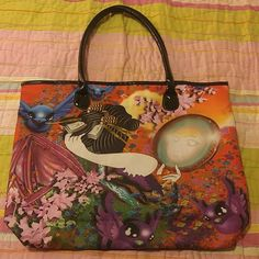 """Artsy asian geisha tote bag Amazing cool artsy tote bag featuring a Japanese garden, a geisha looking in a mirror, and whimsical birds in flight.  Big bag with vinyl shoulder straps and bottom will hold all your treasures or necessities .  magnetic snap close, interior zip pocket.  19x15x3.5"""".  Beautiful vibrant colorful oriental bag. Bags Totes"""