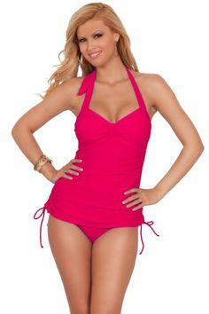 adab45769ddbf Amazon.com: One Piece Adjustable String Tie Bathing Suit Tankini Bikini  Swimwear Swimsuit: