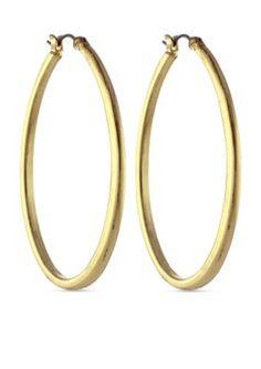 Jessica Simpson Gold Oval Hoop Earrings