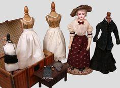 """Émile-Louis Jumeau (1843-1910) —  19"""" Portrait Fashion Poupee Lady with 18pc Trousseau,  1890   (1157x850)"""