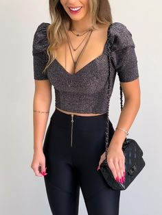 Crop Top Outfits, Cute Casual Outfits, Girly Outfits, Fall Fashion Outfits, Look Fashion, Fashion Dresses, Womens Fashion, Ladies Fashion, Korean Fashion