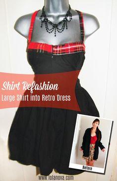 Men's Shirt into Retro Dress - Lola Nova Upcycling