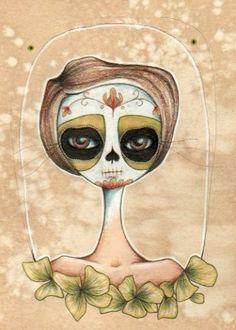 Dia de los Muertos aceo print . Serina by daltonabbey on Etsy, $5.00