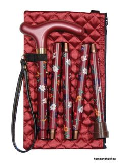 Classic Cane Folding Handbag Stick With Quilted Evening Case - Claret Floral…
