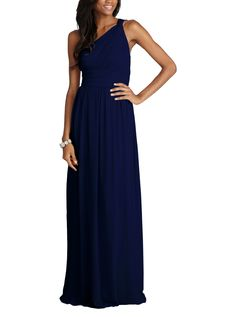 DescriptionDonna Morgan RachelFull length bridesmaid dressOne shoulder with crossover detailNatural waistline, shirred a-line skirtChiffon