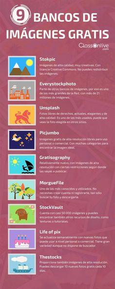 9 bancos de imágenes gratis #infografia Leia os nossos artigos sobre Marketing Digital no Blog Estratégia Digital em http://www.estrategiadigital.pt/category/marketing-digital/
