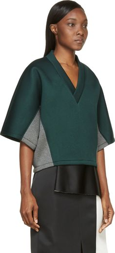 Marni Green & Gray Oversized Neoprene Sweater