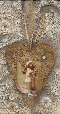 Edwardian Winter Girl in Pink Vintage Lace Heart Collage Ornament By: sweetinspirations in love Your place to buy and sell all things handmade Lace Heart, Heart Art, Vintage Christmas, Christmas Crafts, Christmas Ornaments, Christmas Fabric, Christmas Tree, Victorian Christmas, Vintage Valentines