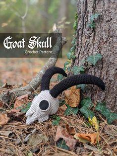 Ravelry: Goat Skull pattern by Heather Leigh Clark Crochet Geek, Crochet Amigurumi, Amigurumi Patterns, Crochet Toys, Knit Crochet, Kawaii Crochet, How To Crochet, Crochet Lovey, Crochet Disney