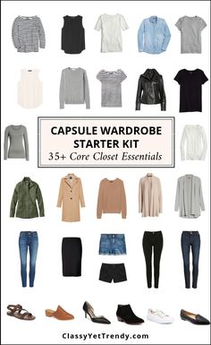 Capsule Wardrobe Starter Kit - Core Closet Essentials - The ULTIMATE visual guide (with shopping links) of basic essentials that you need for a functional wardrobe that will make DOZENS of outfits! Stock your closet with these core closet essentials Capsule Wardrobe Mom, Capsule Outfits, Fashion Capsule, Wardrobe Closet, Closet Basics, Capsule Wardrobe How To Build A, Staple Wardrobe Pieces, Wardrobe Staples, Basic Wardrobe Pieces