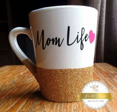 The mugs are at present ready for ordinary usage, like a hot cup of tea each day. This mug is ideal for the mom with a little bit of creativity inside her bones Cute Coffee Mugs, Coffee Cups, Glitter Cups, Gold Glitter, Mother's Day Mugs, Customised Mugs, Diy Mugs, Mom Mug, Cup Design