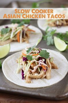 Slow Cooker Asian Tacos seriously couldn't be much easier! And that slaw on top. Best Slow Cooker, Slow Cooker Recipes, Cooking Recipes, Crockpot Recipes, Slower Cooker, Crockpot Dishes, Slow Cooking, Soup Recipes