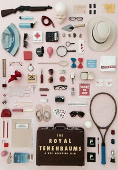 An A3 original artwork for Wes Andersons The Royal Tenenbaums, made by recreating unique objects from the film.