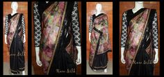 Half and half , floral printed tissue with black semi raw silk pleats, with a black sequin and thin zari border.