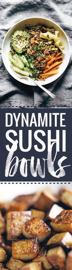 Dynamite Plant Power Sushi Bowls - Pinch of Yum Vegetarian Recipes, Cooking Recipes, Healthy Recipes, Vegan Vegetarian, Clean Eating, Healthy Eating, Dinner Healthy, Healthy Food, Tofu