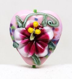 Made to order Margo lampwork beads flowery heart by margolampwork, $15.00