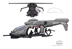 Future helicopter, futuristic flying dropship concept art and design concept