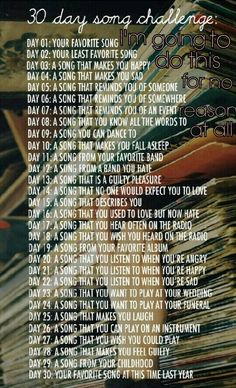 30 day song challenge-- going to turn it into a writing challenge. Could make a playlist of all these songs, one day at a time 30 Day Song Challenge, Journal Challenge, My Journal, Journal Prompts, Writing Prompts, Challenge Accepted, Music Journal, 30 Day Writing Challenge, Journal Topics