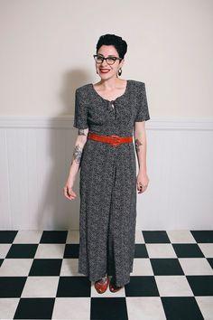 80er Jahre schwarz-weiß Polka Dot Jumpsuit  S/M von ScarletSweater