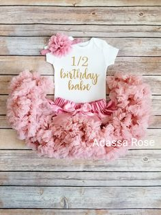 817f30fa0 Adassa Rose · Products · 6 Month Birthday Outfit Girls Half Birthday  Vintage Pink And Gold Outfit