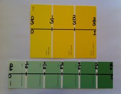 Use paint chips to teach fractions on a number line. Don't know why I didn't think of this before now! It's a great visual of equal parts.