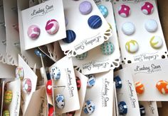 Wholesale 25 Pairs Fabric Covered Button Earrings by lindsaysews, $35.00