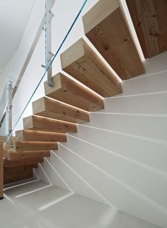 Extraordinary Office Design in Stylish Modern Looks: Cozy Wooden Floating Staircase Design At Buck ONeill Builders With Glass Balustrade And. Glass Balustrade, Glass Railing, Glass Stairs, Wooden Staircases, Stairways, Interior Stairs, Interior Architecture, Building Architecture, Escalier Design
