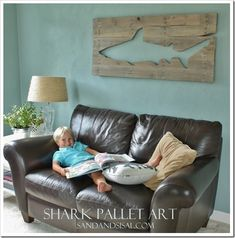 Pallet Art Shark. My son would LOVE this and there are so many other shapes that would be awesome too!